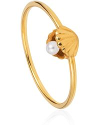 Lee Renee - Shell & Pearl Ring Gold Vermeil - Lyst