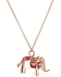 Origami Jewellery Sterling Silver & Pink Gold Mini Elephant Origami Necklace - Metallic