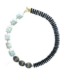 Farra - Rectangle Freshwater Pearls & Black Coral Necklace - Lyst