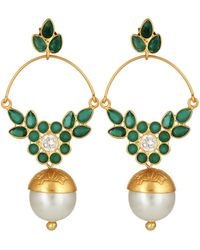 Carousel Jewels - Delicate Pearl & Green Onyx Earrings - Lyst