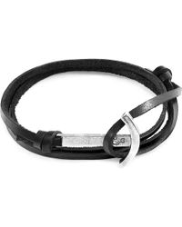 Anchor & Crew - Coal Black Clipper Silver & Leather Bracelet - Lyst