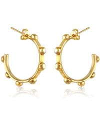 Marcia Vidal | Gold Studded Hoops | Lyst