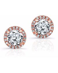 Anne Sisteron Rose Gold White Topaz Diamond Teresa Stud Earrings