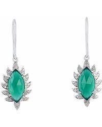 Meghna Jewels - Single Drop Claw Marquise Earrings Green Chalcedony & Diamonds - Lyst