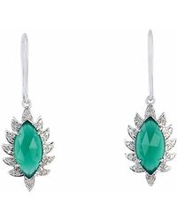 Meghna Jewels - Single Drop Claw Marquise Earrings Green Chalcedony & Diamonds - Lyst