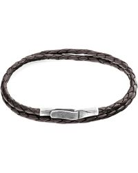 Anchor & Crew - Dark Brown Liverpool Silver And Braided Leather Bracelet - Lyst