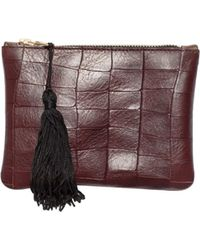 Sarah Baily | Red Croc Bronze Micro Clutch | Lyst