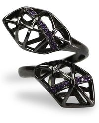 Bellus Domina - Amethyst & Ruthenium Plated Helical Ring - Lyst