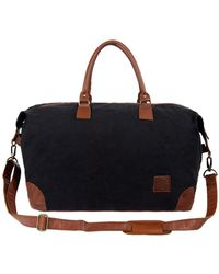 MAHI - Classic Travel Bag In Black Canvas & Brown Leather - Lyst