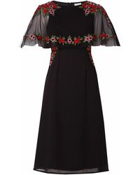 Raishma - Black Floral Cape Dress - Lyst