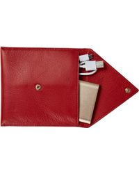 Stow - Soft Leather Wordie Phone Charger Wallet With Gold Powerbank Ruby Red - Lyst
