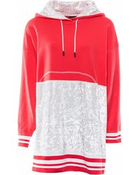 OKAYLA - Coral Red Oversized Hoody Sweater Dress - Lyst