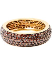 Artisan 14k Gold Full Eternity Womens Band With Brown Diamonds