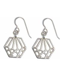 Dream of Songs - Hexagon Earrings Silver - Lyst