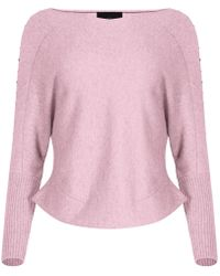 NY CHARISMA - Pink V Neck Sweater With Studs - Lyst