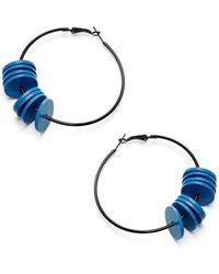 Scenery Label - Blue Hoop Earrings - Lyst