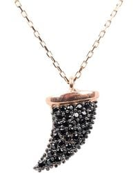 Latelita - Rose Gold Tusk Tooth Pendant Necklace Black Cz - Lyst