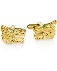 Ona Chan Jewelry - Dragon Cufflinks Gold - Lyst