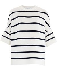 Paisie - White & Navy Short Sleeve Ribbed Jumper With Stripes - Lyst