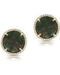 Anne Sisteron 14kt Yellow Gold Black Mother Of Pearl Diamond Disc Stud