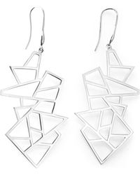 Ona Chan Jewelry - Multi Lattice Drop Earrings Silver - Lyst
