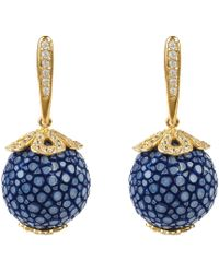 LÁTELITA London - Stingray Ball Drop Earring Gold Royal Blue - Lyst