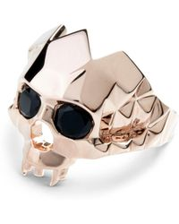 Kasun - Vampire Skull Ring Rose Gold - Lyst