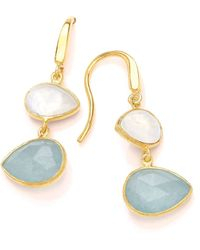 Dione London - Artemis Moonstone & Aqua Tear Earrings - Lyst