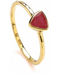Dione London - Luciana Ruby Triangle Stacking Ring - Lyst