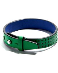 JAM MMXIV - Green & Cobalt Perforated Leather Bracelet - Lyst