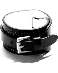 JAM MMXIV - Black & White Wide Leather Cuff Bracelet - Lyst