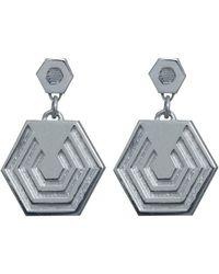 Edge Only - Hexagon Drop Earrings Silver - Lyst
