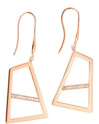 Ona Chan Jewelry | Double Drop Earring With Sapphire Rose Gold | Lyst