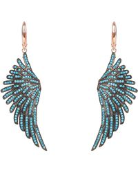 Latelita - Angel Wing Drop Earring Rosegold Turquoise Blue - Lyst
