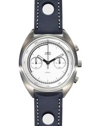 MHD Watches - Mhdcr1 Chronograph Watch With White Dial & Blue Strap - Lyst