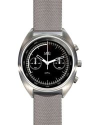 MHD Watches - Mhd Cr1 Chronograph Watch With Black Dial & Milanese Band Metal - Lyst