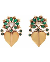 Carousel Jewels - Dyed Crystal Gold Heart Earrings - Lyst