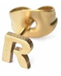 Whistle & Bango - Little Letter R Earring 18ct Plating - Lyst