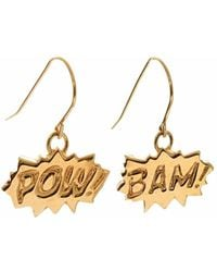 Edge Only - Pow And Bam Drop Earrings In Gold - Lyst