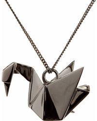 Origami Jewellery - Swan Necklace Sterling Silver Gun Metal - Lyst