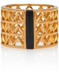 Alexandra Alberta - Yellow Gold Plated Guggenheim Ring With Black Onyx - Lyst