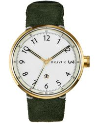 Bravur - Gold Case & White Dial With Black Numerals Olive Green Suede Strap - Lyst