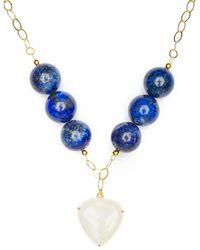 Magpie Rose Lapis Lazuli & Moonstone Statement Necklace - Blue