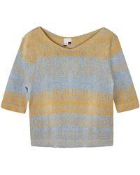 STUDIO MYR One-of-a-kind Three-quarter Sleeve Knitted Cotton Sweater Denim Golden Blue - Metallic