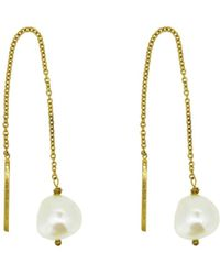 Yvonne Henderson Jewellery | Pearl Thread Through Drop Earrings | Lyst