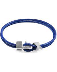 Anchor & Crew - Azure Blue Brixham Silver & Round Leather Bracelet - Lyst