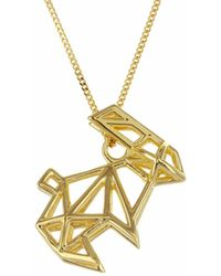 Origami Jewellery - Sterling Silver & Gold Frame Rabbit Origami Necklace - Lyst