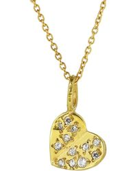 Yvonne Henderson Jewellery - Gold Fluttering Heart Necklace With White Sapphires - Lyst