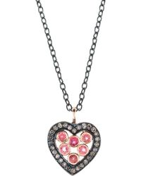 LÁTELITA London - Diamond Heart Pink Tourmaline Necklace - Lyst