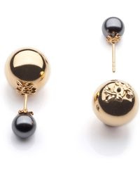 Kasun - Orb And Pearl Stud Earrings - Lyst